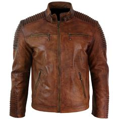 Men's Biker Vintage Style Cafe Racer Wax Distressed Brown Leather Jacket at Amazon Men's Clothing store: