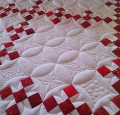 """Quilting by Marlene Baerg Oddie at KISSed quilts.  Double Nine Patch quilt published in """"Red, White and Quilted"""" by Linda Baxter Lasco 