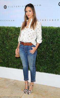 Jessica Alba looks stylish in Victoria Beckham's new range for Target #dailymail