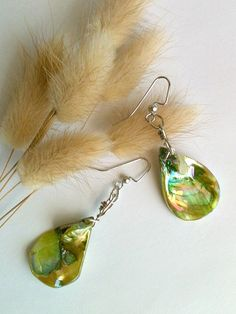 Sea Green Shell Earrings Wire Wrapped by KoolnecksAccessories, $20.00