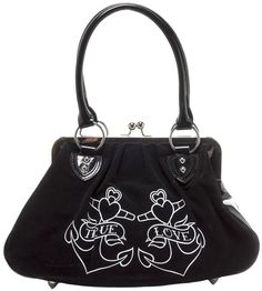 """LUX DE VILLE LUCKY ME ANCHOR KISS LOCK PURSE Get ready to fall in love. This purse has a classic vintage shape with a twist! This roomy velvet kisslock features two anchors with banners reading """"True Love"""" and a removable rose. With plenty of room inside for all of your lucky charms, red Lux de Ville logo lining, and an inside zipper pocket, this purse screams Hello, Sailor! $72.00 #luxdeville #purse #anchor #vintage #retro #pinup #rockabilly #truelove"""