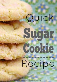 This quick and simple sugar cookie recipe is ready in less than 20 minutes, start to finish. My all time quick sugar cookie recipe Sugar Cookie Cutout Recipe, Cut Out Cookie Recipe, Best Cookie Recipes, Easy Desserts, Delicious Desserts, Dessert Recipes, Yummy Food, Dinner Recipes, Quick Cookies