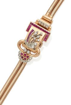 A Lady's Retro Modern Ruby, Diamond and Rose Gold Bracelet Watch, Nicolet Gemstone Colors, Red Gold, Bracelet Watch, Vintage Jewelry, Art Deco, Jewels, Gemstones, Watches, Retro