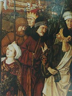 Part of a wing image from the altar of the church of St. Maria, Vienna, painted in the year 1460. The figure of Vlad Tepes (the man with the black cap) measures approximately 110 cm.
