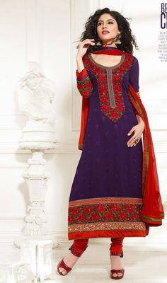 Be the center of attention by sporting this purple and red georgette churidar suit. The lace, patch, resham and stones work seems chic and great for any event. Georgette Dresses, Churidar Suits, Stone Work, Straight Cut, Dress Collection, Stones, Short Sleeve Dresses, Fancy, Silk