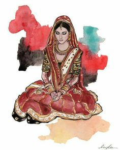 Beautiful painting of an indian bride.