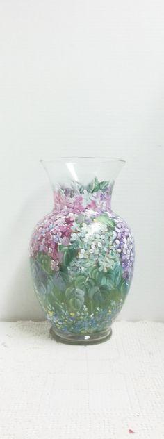 Hydrangea Floral, Hand Painted Vase, Glass Vase, My Garden, Folk Art Design, Hydrangea Flowers, Leaves.
