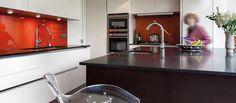 Like the idea of having a white kitchen coloured - orange or purple splash back