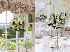 pale pink and ivory candelabra arrangements
