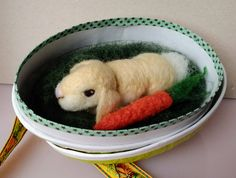 Needle-felted bunny rabbit with a carrot living in a egg by PerinBaba on Etsy