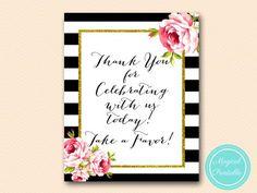 sign-thanks-for-celebrating-take-a-favor-floral-black-stripes-bridal-shower