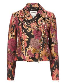 L Agence Shoshanna Brocade Floral Moto Jacket In Black Multi Printed Bomber Jacket, Print Jacket, Moto Jacket, Bomber Jackets, Outerwear Jackets, Motorcycle Jacket, Leather Jackets, Fall Outfits, Fashion Outfits