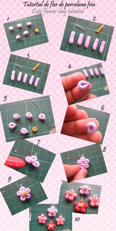 air dry clay, self-hardening clay, tutorials, how to, craft Cute Polymer Clay, Cute Clay, Polymer Clay Flowers, Fimo Clay, Polymer Clay Projects, Polymer Clay Charms, Clay Beads, Polymer Clay Jewelry, Clay Crafts