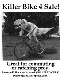Just a T-rex, riding a bike. Sheldon The Tiny Dinosaur, Creepy, Weird And Wonderful, Illustrations, T Rex, White Photography, One Pic, Vintage Photos, Black And White