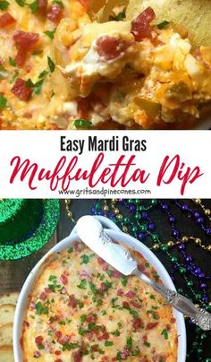 Looking for Mardi Gras recipes or food ideas for a party. Check out this Easy Mardi Gras Hot Muffuletta Dip, which is a tantalizing hot dip made with tasty green olives, salami, provolone cheese, and tangy giardiniera. It's a must try for Mardi Gras as well as perfect for a Super Bowl party! #mardigrasfoodideas, #mardigrasrecipes, #mardigrasparty via @gritspinecones
