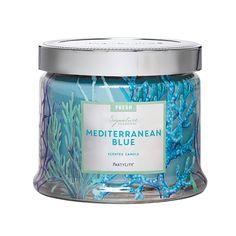 Blaues Mittelmeer 3-Docht-Duftwachsglas