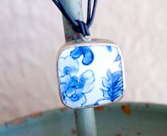 Blue & White OOAK Pottery Pendant Choker on by FromTheHipDesigns, $18.00
