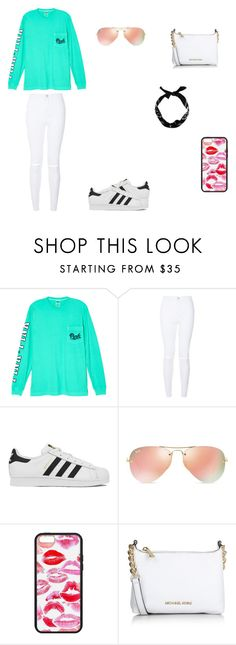 """Cute Outfit!!"" by jazmine-1222 ❤ liked on Polyvore featuring Victoria's Secret, adidas, Ray-Ban, Michael Kors, women's clothing, women, female, woman, misses and juniors"