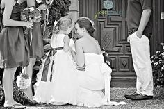 Captured a special moment between Bride and Flower Girl. #photo, #bride, #flower girl