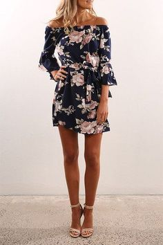 Sexy Off Shoulder Random Floral Print Dress