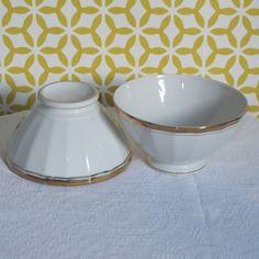 Grand bol ancien en porcelaine blanc et doré par CrazyFrenchVintage