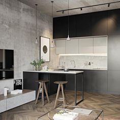 Kitchen design by Andrey Kabanov Minimalist Kitchen Andrey Design DesignOnly Kabanov Kitchen Loft Kitchen, Living Room Kitchen, Home Decor Kitchen, Kitchen Ideas, Diy Kitchen, Kitchen Hacks, Huge Kitchen, Kitchen Cabinets, Kitchen Decorations