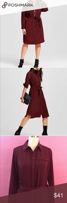 Career wear shirt dress. New wine colored. Maroon Career wear shirt dress. New wine colored WhoWhatWear Dresses Long Sleeve