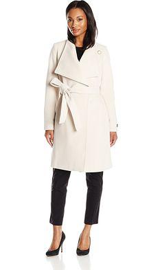 Anne Klein Women's Wool Cashmere Wrap Coat with Belt, Winter White, 6 Best Price