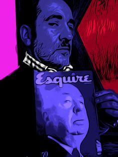 """Con """" Esquire y Alfred Hitchcock """"."""