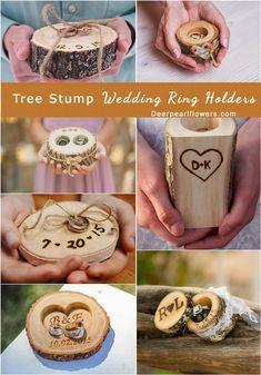 rustic tree stump wedding ring holder ideas