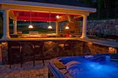 Poolside cabana featuring #timber accents