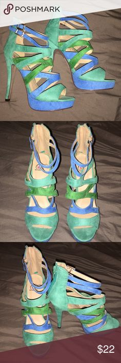 """Strappy gladiator heels Super fun pair of strappy gladiator like heels. Faux suede in shades of turquoise and sea green. Heel is 4-1/2"""" with 1"""" front platform. Worn ONE time. Very pretty, true to size. Delicious Shoes Heels"""