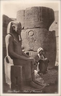 Ancient Egyptian Sculptures, Lot of 2 Vintage 1920s Lehnert & Landrock Photo Postcards Pharaoh Ramesses II at Luxor and XIX Dynasty Princess.