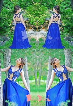 CHARMING ROYAL BLUE LACE SEXY OPEN BACK SLEEVELESS V-NECK LONG A-LINE PROM GOWN DRESSES. DB1037