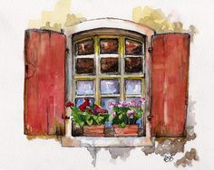 """Window Painting - Print from Original Watercolor Painting, """"Red Window"""", Garden Decor, Red Geraniums Watercolor And Ink, Watercolor Flowers, Watercolor Paintings, Original Paintings, Painting Flowers, Painting Prints, Painting & Drawing, River Painting, Hand Painting Art"""