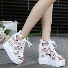 Womens Hollow Out High Open Toe Lace up Platform Wedge Heel Roman Sandals Shoes - Sandals Shoes - Ideas of Sandals Shoes - Womens Hollow Out High Open Toe Lace up Platform Wedge Heel Roman Sandals Shoes Pretty Shoes, Beautiful Shoes, Fashion Boots, Sneakers Fashion, Fashion Outfits, Kawaii Shoes, Kawaii Clothes, Roman Sandals, Aesthetic Shoes
