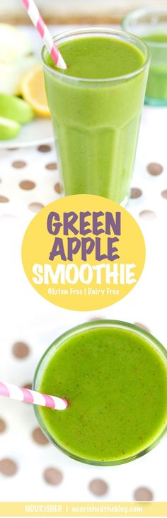 Green Apple Smoothie | A healthy green smoothie recipe made gluten free and vegan possible that's loaded with fruits and vegetables. This smoothie starts your day off right! | nourishedtheblog.com