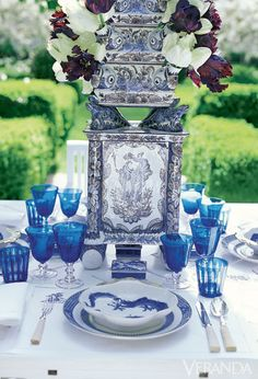 Faience tulipière with Canton boxes and cobalt glasses.  DESIGN BY CAROLYNE ROEHM   - Veranda.com