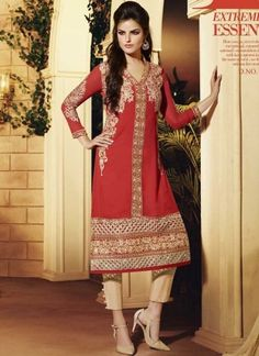 Alluring Red And Cream Georgette Embroidery Work Pakistani Suit  http://www.angelnx.com/Salwar-Kameez