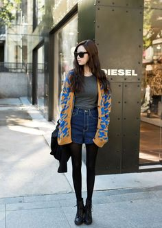 long Cardigan with denim shorts; <3 the pop of electric blue!