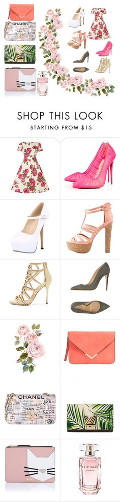"""""""Floral"""" by marthabr on Polyvore featuring Christian Louboutin, Charlotte Russe, Sergio Rossi, Armani Collezioni, Chanel, Louis Vuitton, Karl Lagerfeld and Elie Saab"""