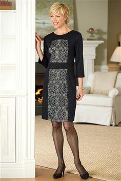 Lace-Panel-Ponte-Dress