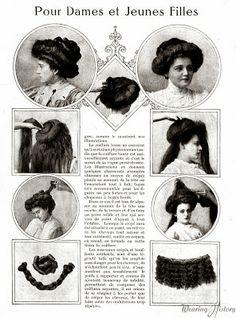 Coiffure pour dames et jeunes filles Période édouardienne, 1901-1910