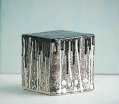 Midnight FOREST Art Block Encaustic Painting by susannajarian