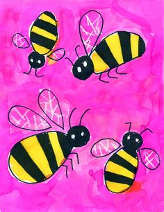 1. Draw bees in pencil, filling the paper with profile and overhead views.  2. Trace the drawing with a black Sharpie marker. Fill in the stripes and head with a chisel tip Sharpie marker. 3. Use a white crayon to draw lots of broken lines in the wings. 4. Paint the background one color, going over the wings of the bees. 5. Paint the yellow bodies.   www.artprojectsforkids.org
