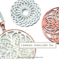 #Jewellery #pendants, rose #gold, #silver and mother of #pearl from the #London #Jewellery Company