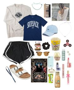 """""""Movie day!!!(not part of back to school series)"""" by lulu7896 on Polyvore featuring Benefit, Victoria's Secret, Kendra Scott, Birkenstock, Kate Spade, NIKE, Honora, L'Oréal Paris, Vineyard Vines and Topshop"""