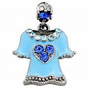 Capri Blue Heart Enamel Sky Blue T-shirt Tag Pin Swarovski Crystal Clothes Brooch Pin