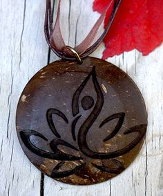 Love this Brown Coconut Shell Yoga Lotus Pendant Necklace by Soothi on #zulily! #zulilyfinds