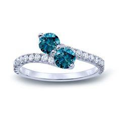 Auriya 14k Gold 1 1/2ct TDW Round-cut Blue Diamond 3-prong, 2-stone Engagement Ring (Blue, I1-I2) ( Gold - Size ), Women's